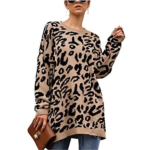 Nekosi Womens Loose Leopard Print Sweater Long Sleeve Knitted Oversized Tunic Khaki M