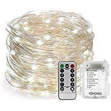 YIHONG Fairy Lights Fairy String Lights Battery Operated Waterproof 8 Modes Remote Control 120 Led String Lights 39FT Copper Wire Firefly Lights Christmas Decor Christmas Lights Daylight White