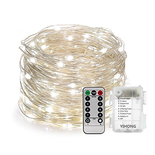 YIHONG Fairy Lights Fairy String Lights Battery Operated Waterproof 8 Modes Remote Control 120 Led String Lights 39FT Copper Wire Firefly lights Christmas Decor Christmas Lights Daylight White (Lights Tree Christmas Cordless)