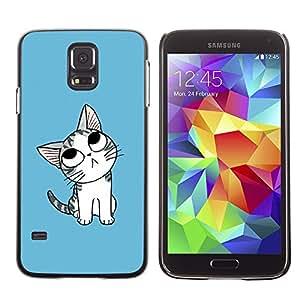 Paccase / SLIM PC / Aliminium Casa Carcasa Funda Case Cover - Cute Japanese Thoughtful Cat - Samsung Galaxy S5 SM-G900