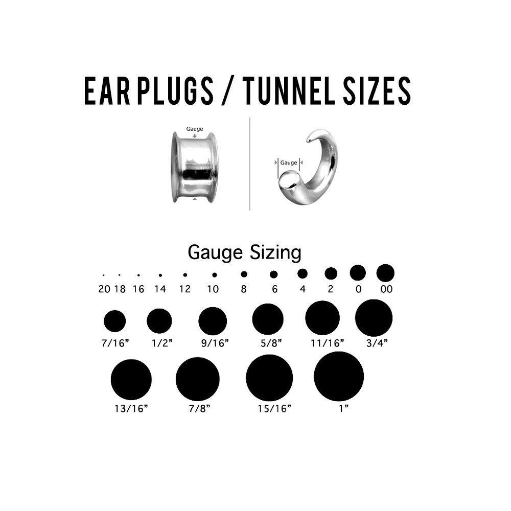 00g BodyJewelryOnline Ear Plugs Screw Fit Skull Heads with CZ Gem Eyes 1 Pair