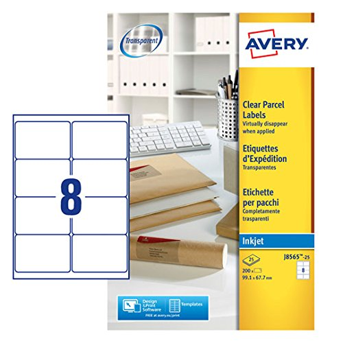 avery j8565 25 self adhesive clear parcel shipping labels 8 labels