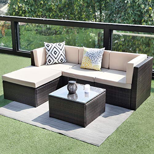 (Wisteria Lane Outdoor Sectional Patio Furniture,5 Piece Wicker Rattan Sofa Couch with Ottoma Conversation Set Brown Wicker,Beige Cushions)