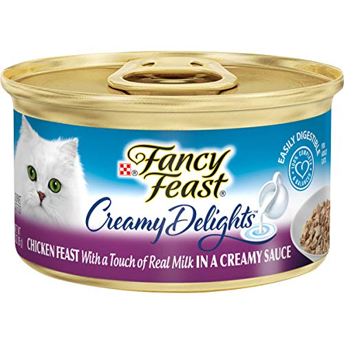 Purina Fancy Feast Pate Wet Cat Food, Creamy Delights Chicken Feast in a Creamy Sauce - (24) 3 oz. Cans