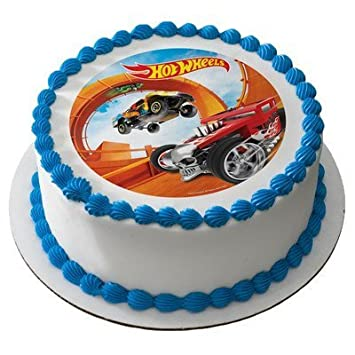 Amazoncom Hot Wheels Licensed Edible Cake Topper 37058 Kitchen