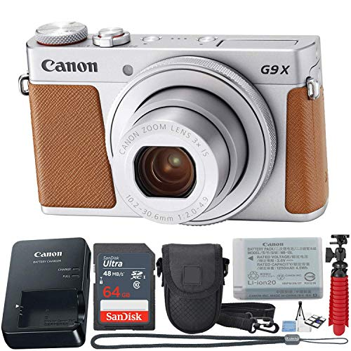 Canon PowerShot G9X Mark II Compact Digital Camera w/1 Inch Sensor 3 inch LCD – Wi-Fi, NFC, Bluetooth Enabled (Silver) 11-Piece Value Bundle