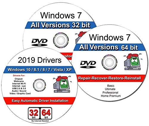 Recovery Disc Compatible w/ Windows 7 All in One ( Basic, Home Premium, Professional, Ultimate) 32/64 Bit Repair, Recovery, Restore, Re-install DVD & 2019 Drivers