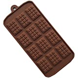 ZINKODA 12-Cavity Cake Mold Silicone Chocolate Bar Sugar Craft Baking Pattern Mold 2 Pack