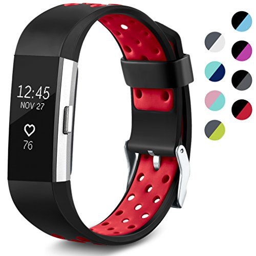 Maledan Replacement Sport Bands with Air Holes Compatible for Fitbit Charge 2, Black/Red, Large