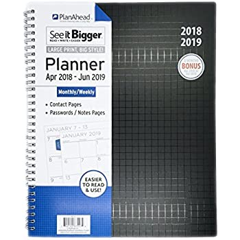 Amazon.com : PlanAhead 2019 Planner, 18 Month Medium