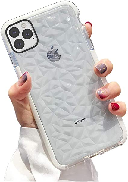 KUMTZO Compatible iPhone 11 Pro Max Case, Crystal Clear Slim Diamond  Pattern Soft TPU Anti,Scratch Shockproof Protective Cover for Women Girls  Men