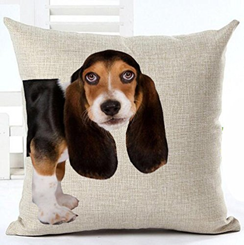 18 x 18 Inches Cotton Linen Cute Funny Various Pet Dogs Human Friends Basset Hound Throw Pillow Covers Cushion Cover Decorative Sofa Bedroom Living Room Square (Sofas Basset)