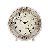 HAOFAY Retro Mantel Mantelpiece/European White Silent Quartz Clock Desk and Shelf Clock