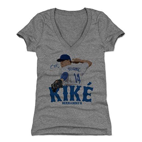 - 500 LEVEL Enrique Hernandez Women's V-Neck Shirt X-Large Tri Gray - Los Angeles Baseball Women's Apparel - Enrique Hernandez Signature B