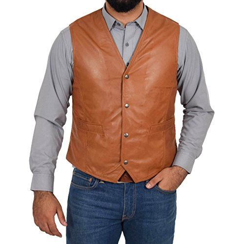 Mens Soft Tan Leather Waistcoat Classic Traditional Style Gilet Casual Vest Bruno (Medium)