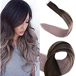 """Full Shine 20"""" Tape in Real Hair Extensions Full Head Remy Hair Extensions Balayage Ombre Hair Extensions Silver Ombre Balayage Glue in Hair Extensions Human Hair 50g 20 Pcs Per Package"""
