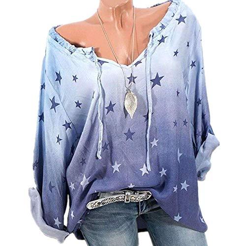 Sport Maglietta Top Camicia Blu Donna Manica Gradiente Girocollo Pullover da Stampa Autunno Casual Lunga Allentata ZZwfqHr7O