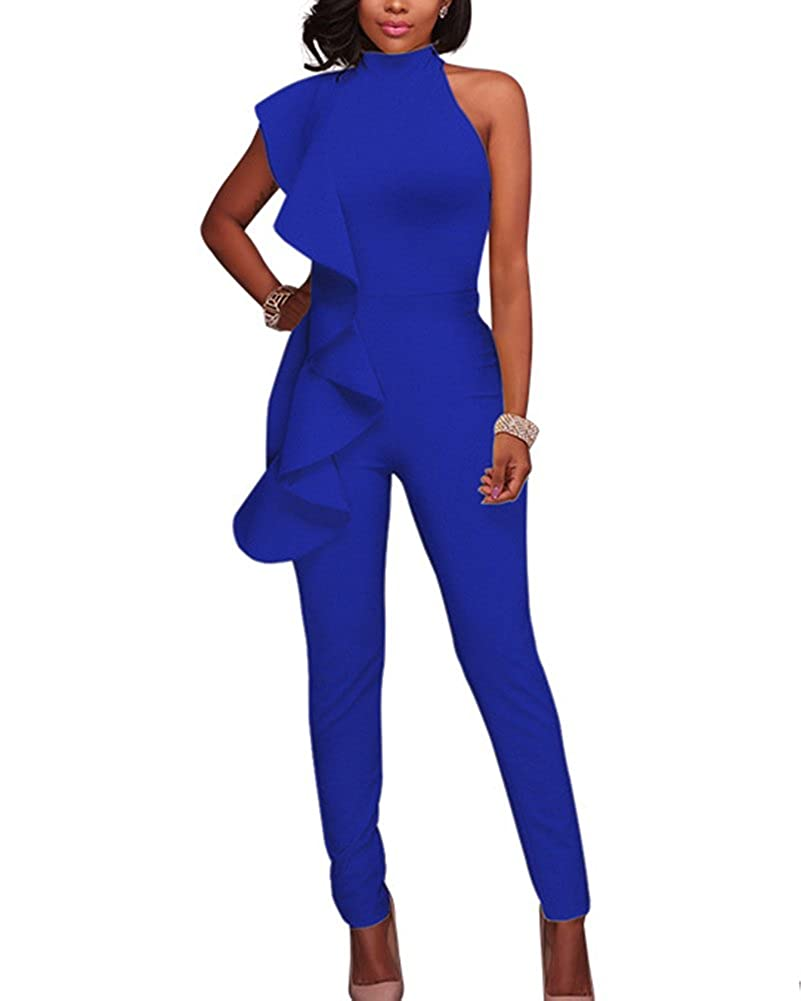 65fd543c122 Guiran Womens Elegant Sleeveless Romper Playsuits Ruffle Long Evening Party  Cocktail Formal Jumpsuit  Amazon.co.uk  Clothing