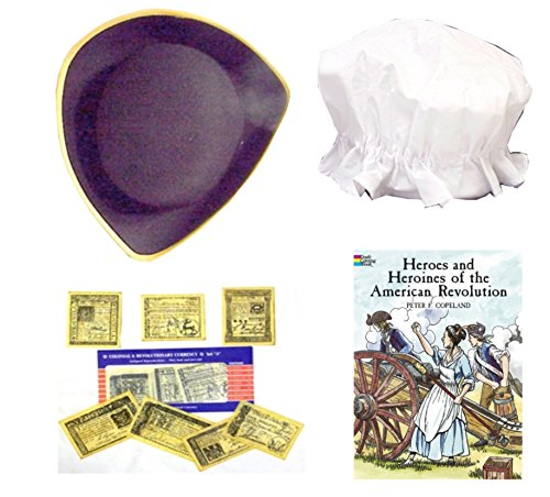 Revolutionary War Fun History Kit for Kids with Colonial Hats, Colonial Money Revolutionary War Facts Sheet and American Revolution Coloring -