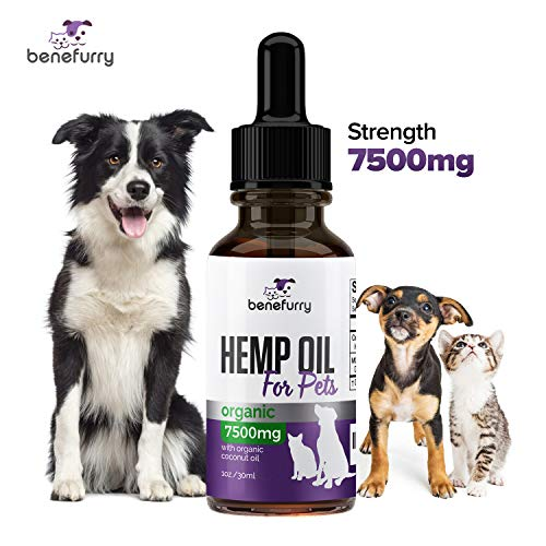 Benefurry Hemp Oil for Dogs & Cats, 7500mg, Supports Hip & Joint Health, Anxiety Relief, Pain & Inflammation, Grown & Made in USA