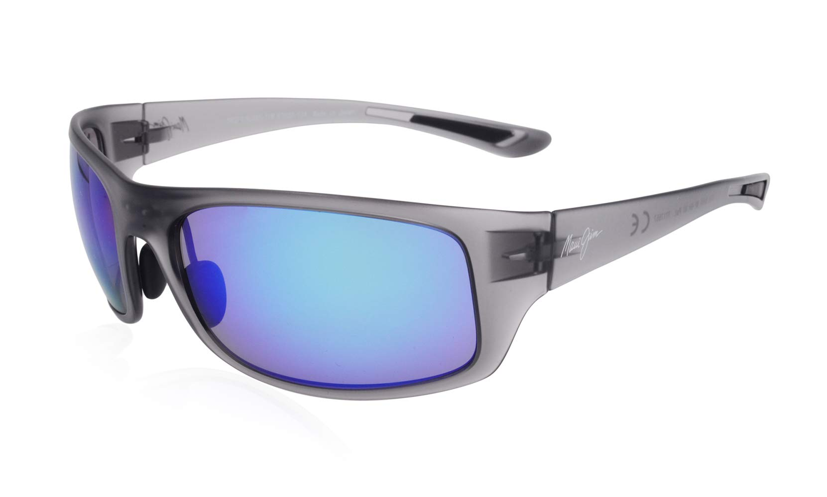 Maui Jim Sunglasses | Men's | Big Wave B440-11M | Translucent Matte Grey Wrap Frame, Polarized Blue Hawaii Lenses, with Patented PolarizedPlus2 Lens Technology by Maui Jim