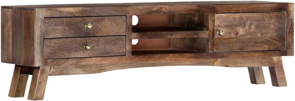 UnfadeMemory Mueble para TV,Mesa para TV,Decoración de Hogar,Estilo Rústico, con 2 Cajones,2 Estantes y 1 Compartimento,Madera Maciza de Mango,140x30x40cm: Amazon.es: Hogar