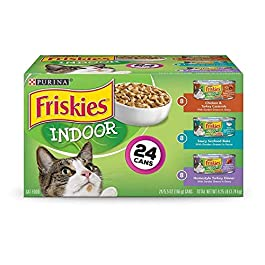 Purina Friskies Indoor Wet Cat Food Variety Pack, Indoor – (24) 5.5 oz. Cans