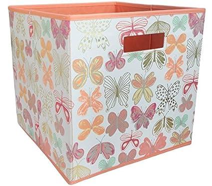Merveilleux Butterfly Fabric Cube Storage Bin (13x13)