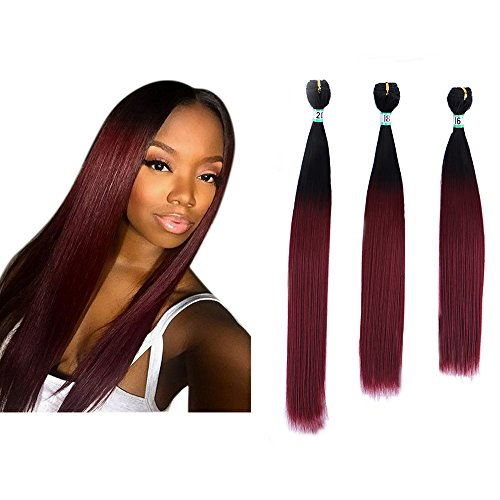Yonis Silk Straight Ombre Hair Extensions 3 Bundles Synthetic Human Hair Weave Black to Wine Red Mixed Length (16