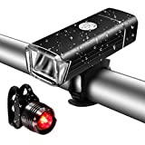 SGODDE LED Bike Light Set, USB Rechargeable Bicycle Light Set- Four Mode Super Bright Front Light and LED Bike Tail Light Set,Easy to Install and Fits On Any Road Bikes