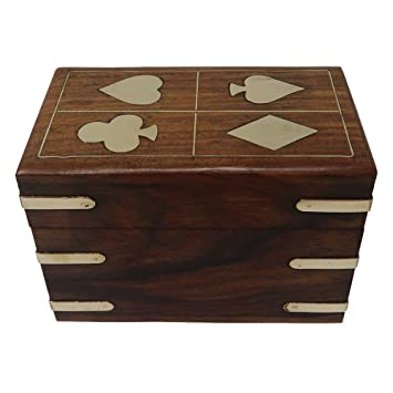 Handmade Wooden Playing Cards Storage Box Case Holder for 2 Decks Birthday Anniversary Gifts Antique Looks