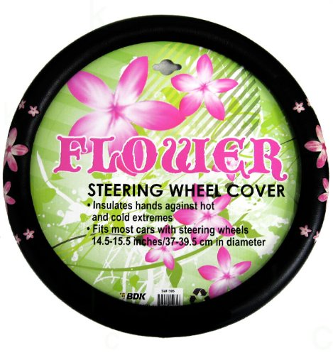 Simulated Leather Steering Wheel Cover with Embossed Design - Pink Flower (Steering Wheel Flowers compare prices)