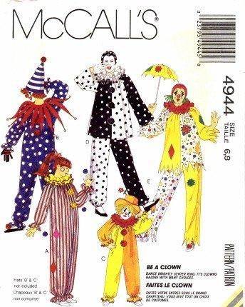 Amazon Com Mccall S 4944 Vintage Sewing Pattern Boys Girls Clown