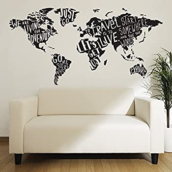 Newclew NCMP World Map Wall Decal Vinyl Art Sticker Home Decor - World map wallpaper decal
