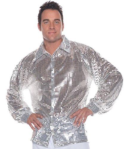 Men's Disco Costume - Sequin Shirt, Silver, X-Large
