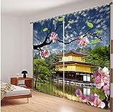 QiZhan541 CurtainSmall Temple in Mountain Curtains Ropa de cama Sala de Estar Estampado en 3D Parasol grueso Cortinas para ventanas Tamaño a medida 270 cm de Alto x 300 cm de ancho