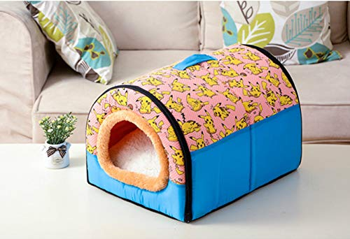(RubyShopUU Hot!!! Dog House Cama para Cachorro Kennel Nest with Mat Foldable Dog Cat Bed for Small Medium Dogs Pet Bed Puppy Sleeping)