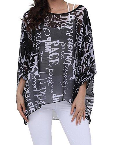 Haut pour floral femme dnude bohme Oukin paule ample 13 manches imprim style en Nstyle souris mousseline chauve rrAqdxw4
