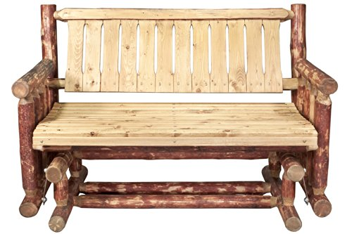 Montana Woodworks Glacier Country Collection Two Person Log Glider with Exterior Stain ()