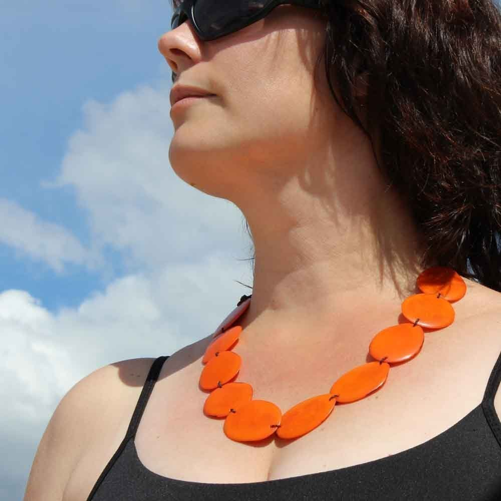 Eco Friendly Fair Trade Jewelry Chunky Orange Statement Necklace and Earrings Set made of Tagua Nut