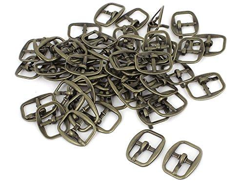 - uxcell® Metal Rectangle Single Prong Pin Shoe Center Buckle 50PCS Bronze Tone