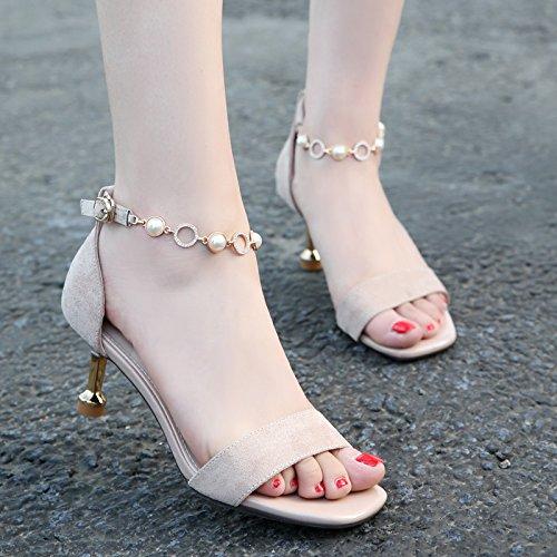 piccoli e sexy high ZHANGJIA le 36 nero dei heeled shoes dita fibbie dei sandali dolci camoscio femmine piedi beige xRqAP