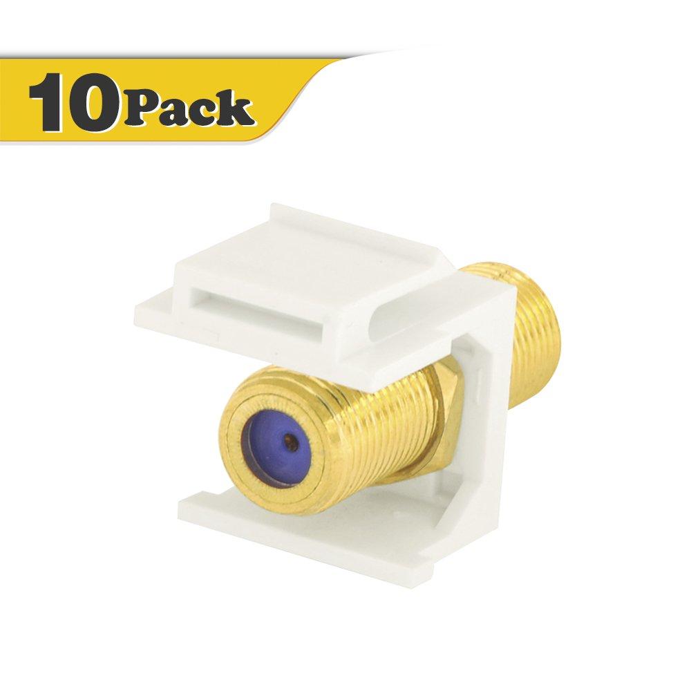 VCE (10 Pack) 3 GHz Gold-Plated RG6 Keystone Jack Insert,F Type RG6 keystone Connectors