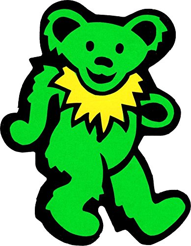 Bear Green Dancing - Dancing Bear - Green with Yellow Necklace - Bumper Sticker / Decal