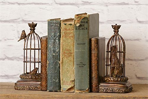 Birds in Birdcage Primitive Metal Bronze Finish Bookend Set