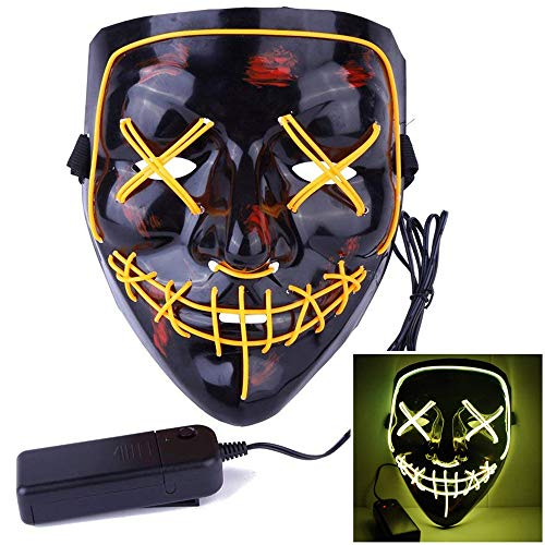 Happy Hours LED Party Mask Halloween Mask Cosplay LED Glow Scary EL Wire Light up Grin Masks for Dancing,Riding,Skating,Party and Any Festival Costume (Yellow)