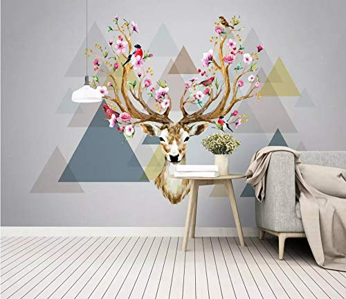 Mural 3D Mural Wallpapers for Living Room Wall Papers Photo Wallpaper Geometric Colorful Elk Animal Home Deor Art Wood Pattern Bedroom Tv Murals,240Cm (H) X 320Cm (W)