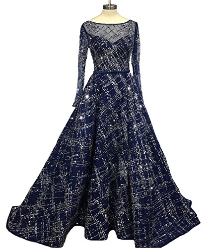 Dearta Women's A-Line Scoop Long Sleeves Sweep Train Sash Prom Dresses Navy US (A-line Scoop Sweep)