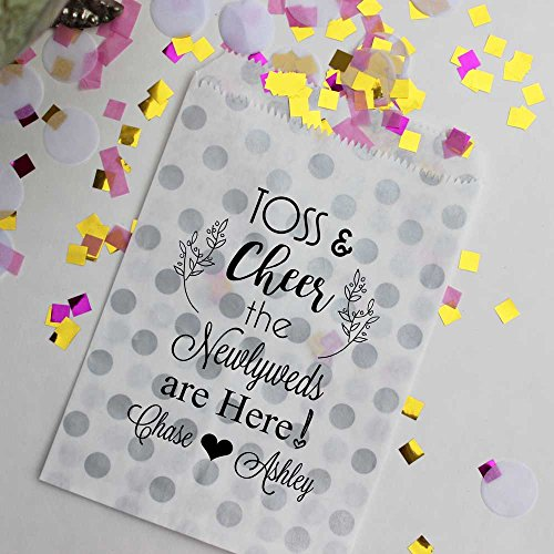 Bakers Bling Wedding Toss Bags, Toss & Cheer the Newlyweds are Here, Silver and White Polka Dot Confetti Bags, Set of 48 Bags and 48 Stickers by