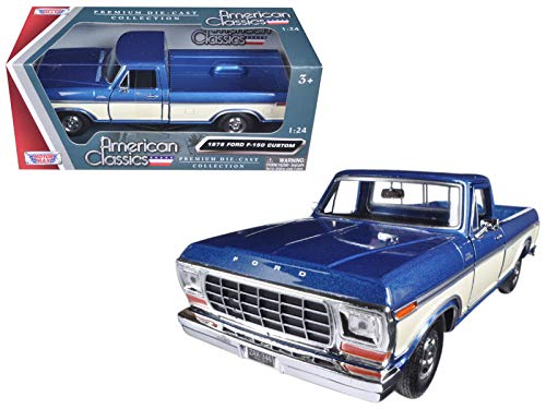 - Motormax 1979 Ford F-150 Pickup Truck 2 Tone Blue/Cream 1/24 Diecast Model Car